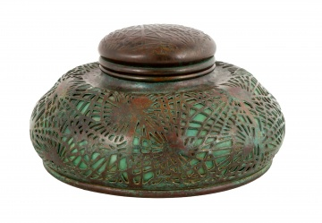 Large Tiffany Studios Pine Needle Inkwell