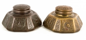 (2) Tiffany Studios, New York Zodiac Inkwells