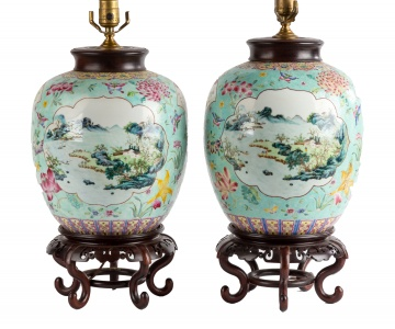 Pair of Chinese Famille Rose Porcelain Lamp Bases