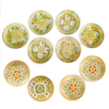 (10) Chinese Hand Painted Porcelain Deep Dishes