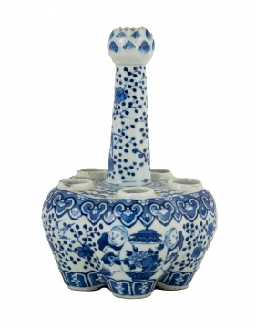 Chinese Blue & White Porcelain Tulipiere Vase