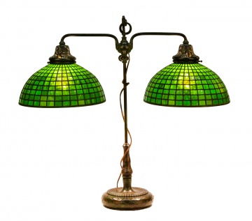 Unusual Tiffany Studios, New York Double Student Lamp