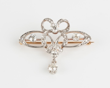 Attributed to Tiffany & Co. Belle Époque Platinum & Diamond Pin
