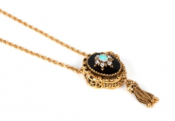 14K Gold and Slide Style Pendant Watch Necklace