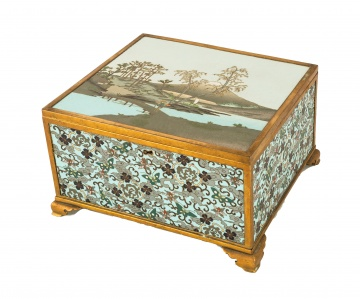 Japanese Scenic & Floral Cloisonné Covered Box