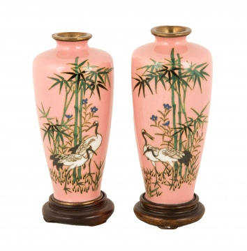 Miniature Japanese Cloisonné Vases with Herons