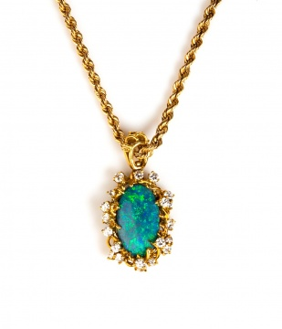 Rare 6.96 ct Lightning Ridge Black Opal, 18K Gold & Diamond Pendant