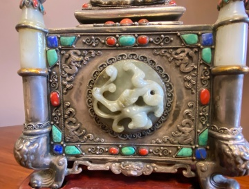 Chinese Jade and Hardstone Silver Box