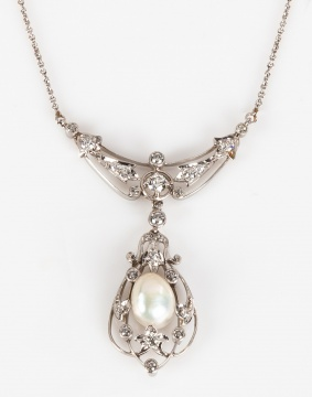 A Belle Époque Platinum Chain and Connected Pendant