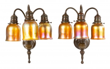 Large Pair of Tiffany Studios, NY 3-Light Sconces