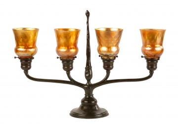 Tiffany Studios, New York 4-Light Candelabrum Lamp