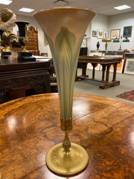 Tiffany Studios, New York Pulled Feather Favrile Vase with Bronze Base