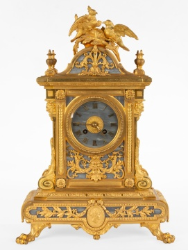 A Fine French Louis XIV St. Ormolu and 'Gris Saint Anne' Marble Clock