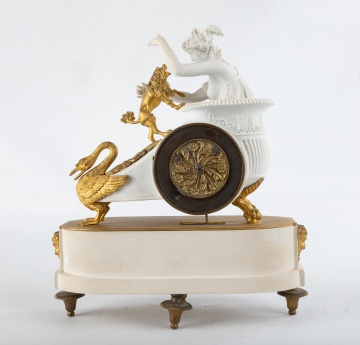 French Sévres Gilt Bronze and Bisque Clock