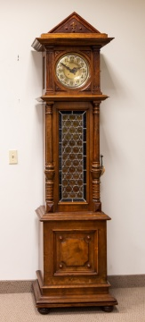 Tall Case Hall Clock with Disk Polyphon Music Box