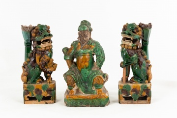 Chinese Sancai Glazed Foo Dogs & Warrior