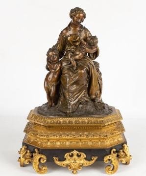 19th Century French Bronze Figural Group of Mother and Child