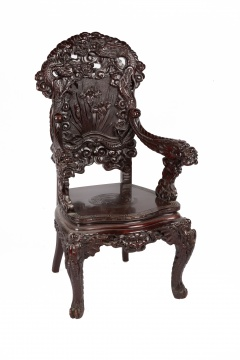 Japanese Mahogany Throne Chair