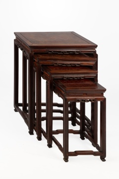 (4) Chinese Teak & Burl Nesting Tables