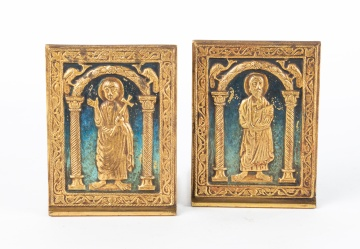 Tiffany Studios Enameled Bronze Bookends