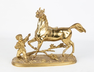 Gilt Bronze Young Boy with Horse by Waager