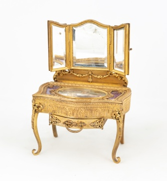French Gilt Bronze Dressing Table Jewelry Box