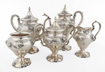 (5) Piece Sterling Silver Art Nouveau Tea Set