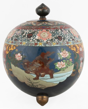 Large Cloisonné Covered Jar