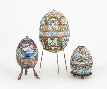(3) Russian Enameled Silver Eggs