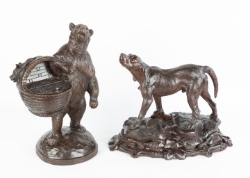 Black Forest Carved Wood Bear and Hunting Dog