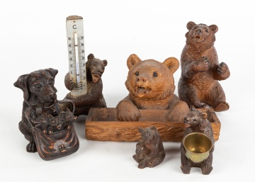 Group of Black Forest Carved Wood Thermometer, Inkwells and Figures