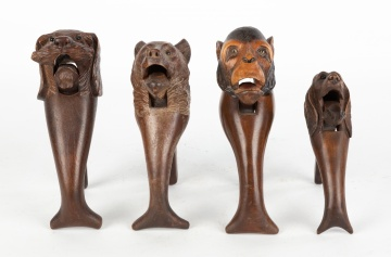 (4) Black Forest Carved Wooden Nutcrackers