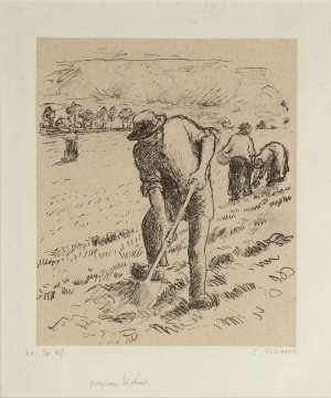 "Camille Jacob Pissarro (Danish/French, 1830-1903) ""Paysan Bechant (Peasant Digging)"""