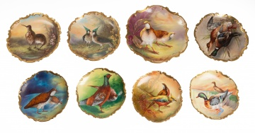 (8) Limoges Hand Painted Porcelain Plates with Birds