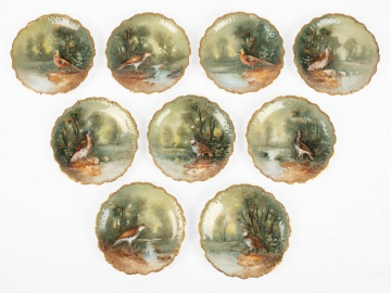 (9) Limoges Hand Painted Porcelain Plates with Birds