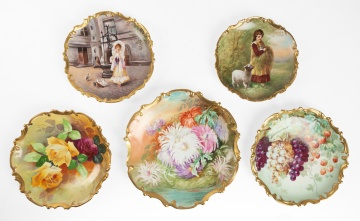 (5) Limoges Hand Painted Porcelain Plates