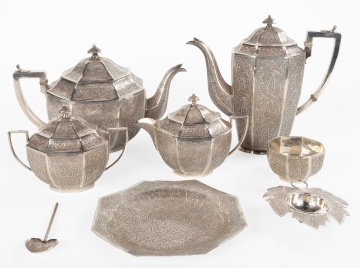 8 Piece Indian Kashmir Silver Tea Set
