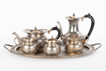 6 Piece Sterling Silver Gilt Tea Set