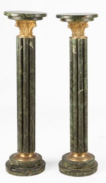 Pair of Classical Green Marble Pedestals