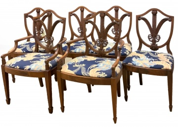 Set of Six Carved Prince of Whales Feather Shield Back Dining Chairs