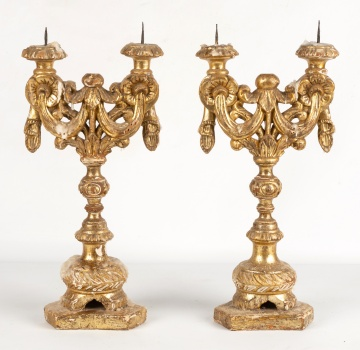 Early Carved Giltwood Prickets