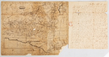 Horatio Gates Spafford, I (1778-1832) Hand Drawn Map of New York State & Letter