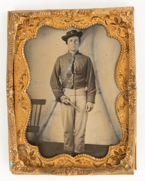 Civil War Era Tintype, Military Portrait with Pistol