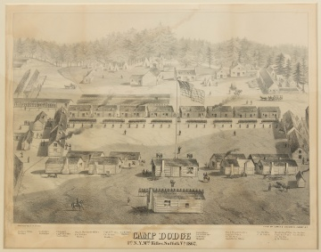 Camp Dodge 1st N.Y. Mtd. Rifles, Suffolk, Va, 1862, Lithograph
