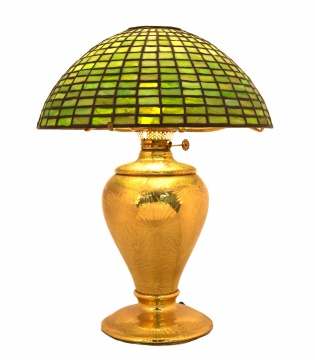 Tiffany Studios, New York Pine Needle Base with Leaded Glass Shade