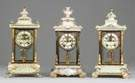 Ansonia Porcelain Crystal Regulators & French Miniature Conical Clock