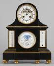 French Slate & Bronze Shelf Clock w/ Calendar