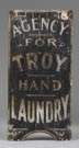 """Agency for Troy Hand Laundry"" Painted Wood Sign"