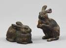 2 Cast Iron Garden Bunnies
