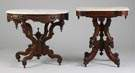 L - Victorian Walnut Marble Top Table, R - Victorian Burl Walnut Marble Top Table